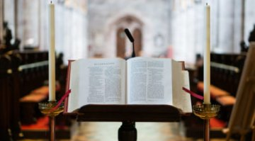 Bible on lecturn in church